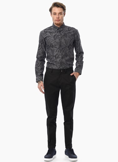 Que Slim Fit Desenli Uzun Kollu Gömlek Siyah